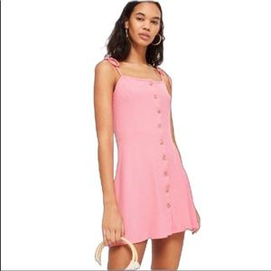 Topshop Button Ribbed Mini Dress in Pink
